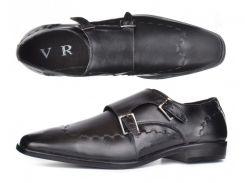 Мужские кожаные туфли классические черные Zapaterias VR прошитые