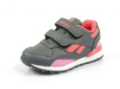 Детские кроссовки Clibee:K-185 тем.Серый+Розовый