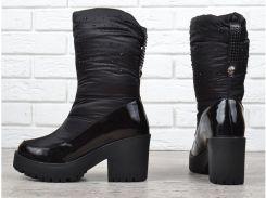 Сапоги женские дутики зимние черные на каблуке Prima d Arte в камнях 0944134179ab4