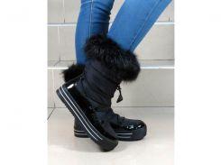 Сапоги женские зимние дутики на платформе черные Lorbacsa