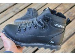 Мужские кожаные зимние ботинки Caterpillarчерный