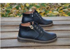 Мужские кожаные зимние ботинки 17-37 ЧЕРНЫЙ