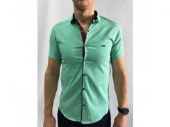 Рубашка мужская короткий рукав PS 95746_10 светло-зеленая