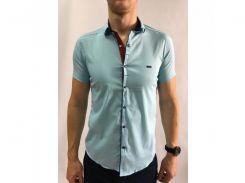 Рубашка мужская короткий рукав PS 95746_9 голубая