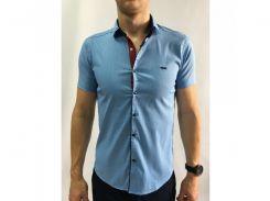 Рубашка мужская короткий рукав PS 95746_8 синий
