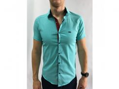 Рубашка мужская короткий рукав PS 95746_7 бирюза