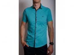 Рубашка мужская короткий рукав PS 95746_4 бирюза