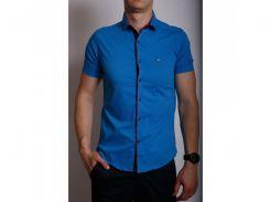 Рубашка мужская короткий рукав PS 95746_3 синяя