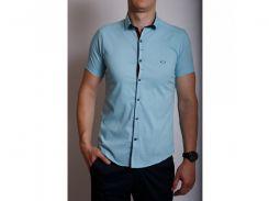 Рубашка мужская короткий рукав PS 95746_2 голубая