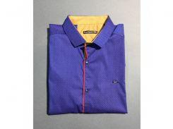 Рубашка мужская с коротким рукавом PS 4499_2 батал синий