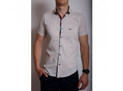 Рубашка мужская короткий рукав PS 95746 светлый-беж