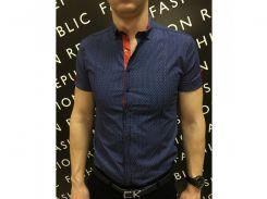 Рубашка мужская короткий рукав PS 08707_2 темно-синий