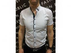 Рубашка мужская короткий рукав PS 08707_1 белый