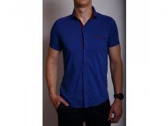 Рубашка мужская короткий рукав PS 88985_4 ярко-синий