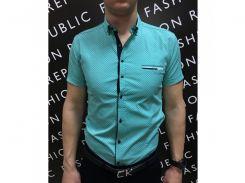 Рубашка мужская короткий рукав PS 88985_2 бирюза