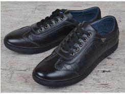 Туфли повседневные мужские кожаные Armani style черные на шнуровке
