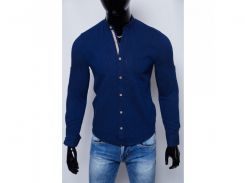 Рубашка мужская льняная Figo 17038 стойка синяя