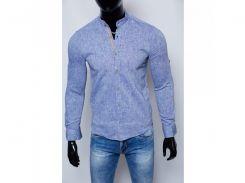 Рубашка мужская льняная Figo 17038_1 стойка светло-синяя