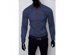 Рубашка мужская Grand Men 15540 с регулировкой рукава синяя