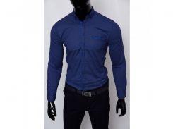 Рубашка мужская Grand Men 15539 с регулировкой рукава синяя