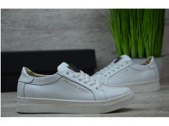 Женские кожаные кроссовки/кеды Philipp Plein Pp бел