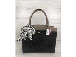 Классическая женская сумка Бьянка кофейного цвета со вставкой черная кобра