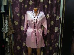 Халат розовый атласный с кружевом!