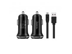 Автомобильное зарядное устройство Hoco Z1 c Lightning USB 2USB 2.1А Black