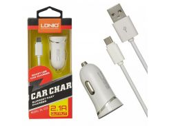 Автомобильное зарядное устройство Ldnio DL-C12 + Micro USB Cable (1USB 2.1A) White