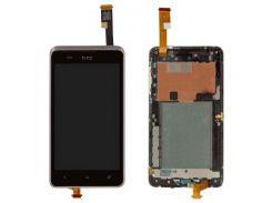 Дисплей для HTC 400 Desire Dual Sim/T528w One SU + touchscreen, черный, с передней панелью голубого
