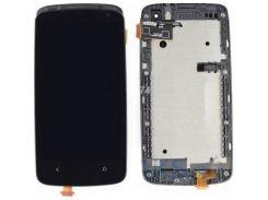 Дисплей для HTC 500 Desire/506e + touchscreen, черный, с передней панелью