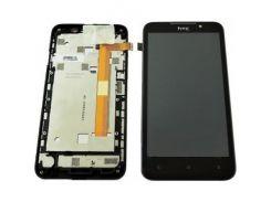 Дисплей для HTC 516 Desire Dual Sim + touchscreen, черный, с передей панелью