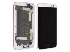 Дисплей для HTC 516 Desire Dual Sim + touchscreen, черный, с передей панелью белого цвета