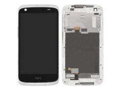 Дисплей для HTC 526G Desire Dual Sim + touchscreen, черный, с передей панелью белого цвета
