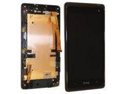 Дисплей для HTC 600 Desire Dual Sim/606w + touchscreen, черный, с передней панелью серебристого цвет