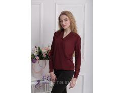 """Блузка с длинным рукавом """"Лурдес"""" - распродажа модели бордо, 42"""