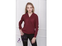 """Блузка с длинным рукавом """"Лурдес"""" - распродажа модели бордо, 44"""