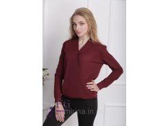 """Блузка с длинным рукавом """"Лурдес"""" - распродажа модели бордо, 46"""
