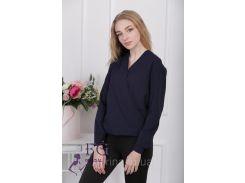 """Блузка с длинным рукавом """"Лурдес"""" - распродажа модели темно-синий, 44"""