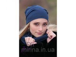 Набор «Шапка и шарф» (двойной трикотаж) темно-синий
