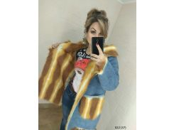 Шуба двухсторонняя женская джинс + мех 022 (37)