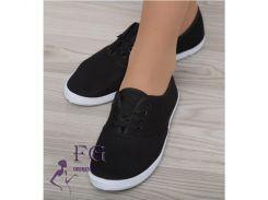 Мокасины женские на шнурке черный, 36