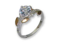 Кольцо из серебра с золотыми вставками, модель 112