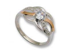 Кольцо из серебра с золотыми вставками, модель 081