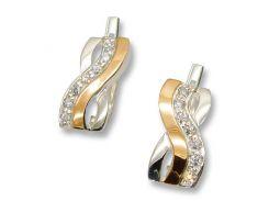 Серьги из серебра с золотыми вставками, модель 077