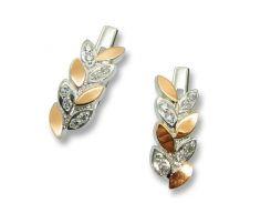 Серьги из серебра с золотыми вставками, модель 075