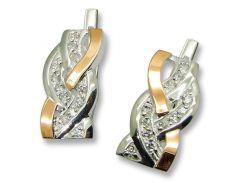 Серьги из серебра с золотыми вставками, модель 071