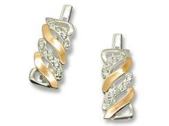 Серьги из серебра с золотыми вставками, модель 070