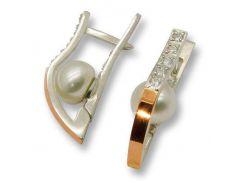 Серьги из серебра с золотыми вставками, модель 041