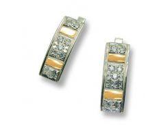 Серьги из серебра с золотыми вставками, модель 039